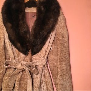 VTG Suede Coat Fur Collar